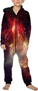 Jumpsuit Jogger für die Ganze Familie, Morbuy Unisex Junge Mädchen Kapuzenpullover Strampelanzug 3D Sternenklarer Himmel Printed Onepiece Sweatshirt Strampler Nachtwäsche