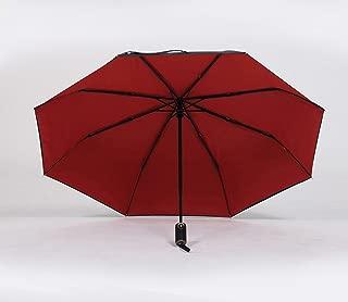 Folding Umbrella Automatic Umbrella Female Rain Umbrella Business Umbrella Sunscreen UV Protection Huhero (Color : Red)