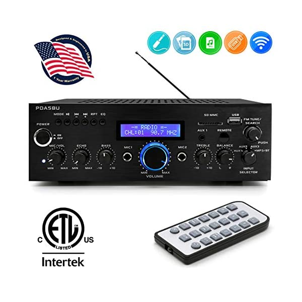 Wireless Bluetooth Home Power Amplifier – 200 Watt Audio Stereo Receiver w/ USB Port, AUX IN, AM FM Radio, DVD CD Player, 2 Karaoke Microphone Input, Remote – Home Entertainment System – Pyle PDA5BU
