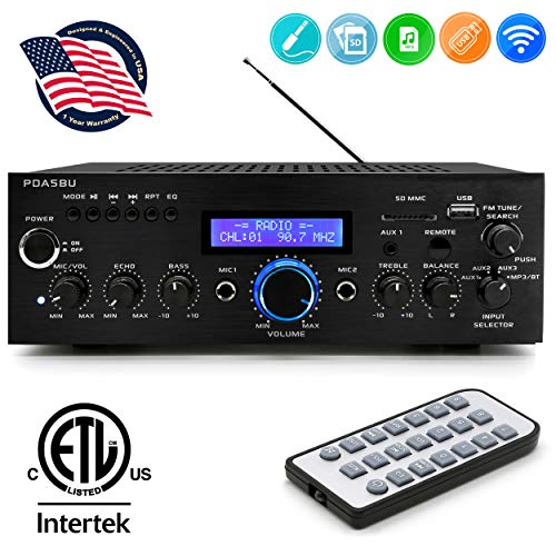 Wireless Bluetooth Home Power Amplifier - 200 Watt Audio Stereo Receiver w/ USB Port, AUX IN, AM FM Radio, DVD CD Player, 2 Karaoke Microphone Input, Remote - Home Entertainment System - Pyle PDA5BU