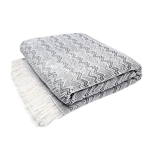 Mehrzweck-Decke mit Fransen für Sofa und Bett, mit Wellenbordüre, extra weich, 230 x 260 cm