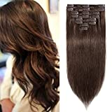 Extension a Clip Cheveux Naturel Epaisseur Moyenne - Rajout Cheveux Humain Remy Hair 8 Pièces (#4 MARRON CHOCOLAT, 20cm-65g)