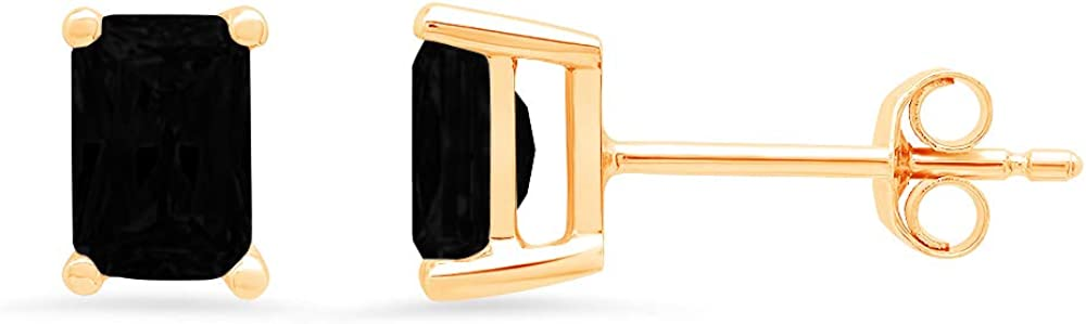 Clara Pucci 2.0 ct Brilliant Emerald Cut Solitaire VVS1 Flawless Natural Black Onyx Gemstone Pair of Stud Earrings Solid 18K Yellow Gold Butterfly Push Back