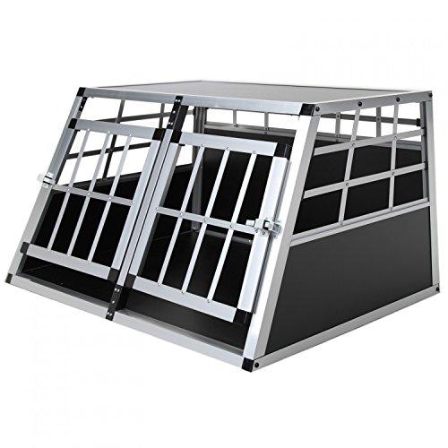 Jalano Doppel Hundebox aus Aluminium für den Transport Kleiner Hunde Auto Gitterbox mit geneigter Vorderseite für PKW Kofferraum