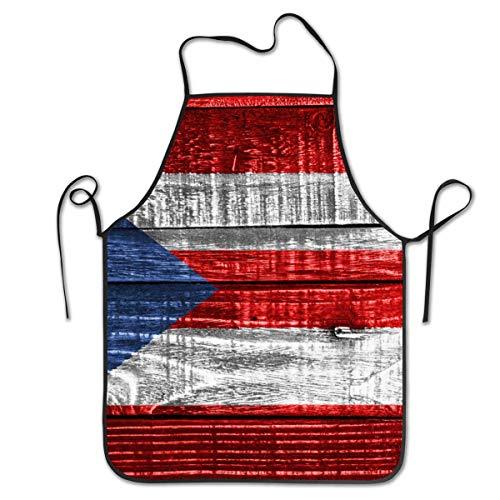 Delantal con peto ajustable - Resistente al agua con 1 bolsillos Delantales de cocina para mujeres Hombres Tamaño del chef 20.5 pulgadas x 28.3 pulgadas, bandera de Puerto Rico sobre fondo de textura
