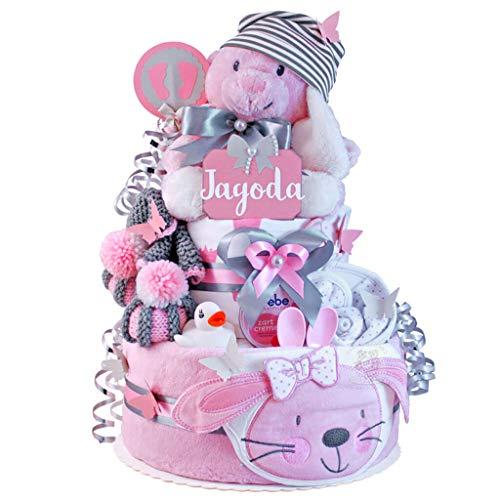 MomsStory - Windeltorte Mädchen | Hase | Baby-Geschenk zur Geburt Taufe Babyshower | 2 Stöckig (Rosa-Grau) XL Groß | mit Küscheltier Baby-Schuhchen Lätzchen Schnuller & vieles mehr