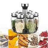 Organizador giratorio para especias, especiero con 6 tarros de cristal para especias, giratorio de 360°, para cocina especias, productos del hogar