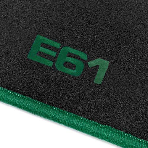 online-fussmatten OFM-Q300_E61-504 Passform Velours-Fußmatten mit Bestickung E61 und Rand in Grün