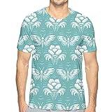 Camiseta de manga corta con estampado creativo en 3D, diseño de mariposas y flores, para hombre