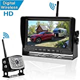 Amtifo Digital Wireless Backup Camera and 7'' Monitor For RVs,Trucks,Trailers,High-Speed Observation System With Stable Signal ,Adjustable Rear/Front View Camera, Guide Lines ON/Off, IP69K Waterproof