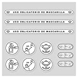 Pack Vinilos Medidas y Normas de Seguridad   Adhesivos de Medidas de Protección e Higiene para suelo o paredes   Mascarilla Obligatoria y Distancia Social (BLANCO)