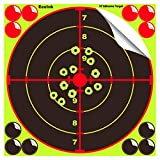 Eeelnk Splatter Targets for Shooting 10 inch- Reactive Bright Fluorescent Yellow Shot Marking, 12 Cover Patches - Airsoft, Pellet Gun, Rifle, Shotgun - Indoor, Outdoor, Long, Short Range Practice (20)