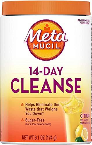 Metamucil, 14-Day Cleanse, Psyllium Husk Fiber Supplement, Eliminate Waste & Promote Regularity, Sugar-Free, Citrus Flavored, (6.1 OZ)