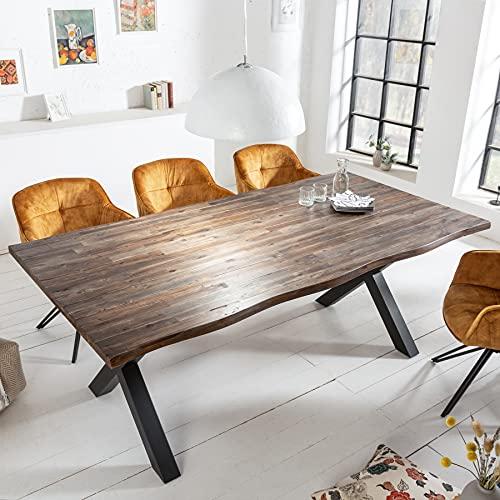 riess-ambiente.de Massiver Esstisch Genesis Vintage 160cm Akazienholz braun mit X-Beinen Konferenztisch Tisch