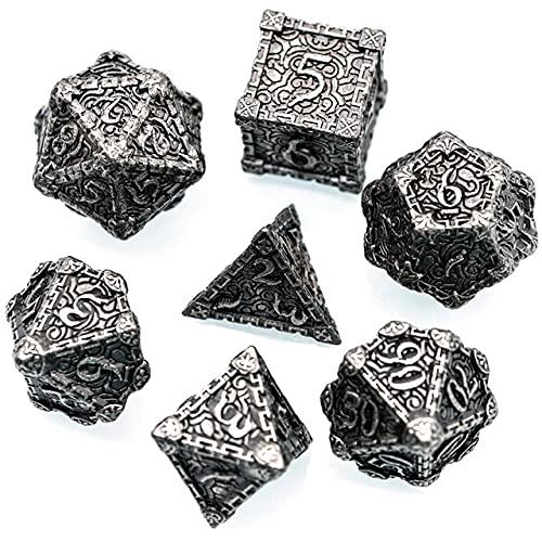 World of Dice Deadly Dagger - Pen & Paper Metallwürfelset,, Würfel für Dungeons and Dragons, DSA, 7-teiliges Set, W4 bis W20, aus Metall