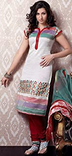 Exotic India Ivory Designer Choodidaar Kameez Suit with Tri-Color Patches