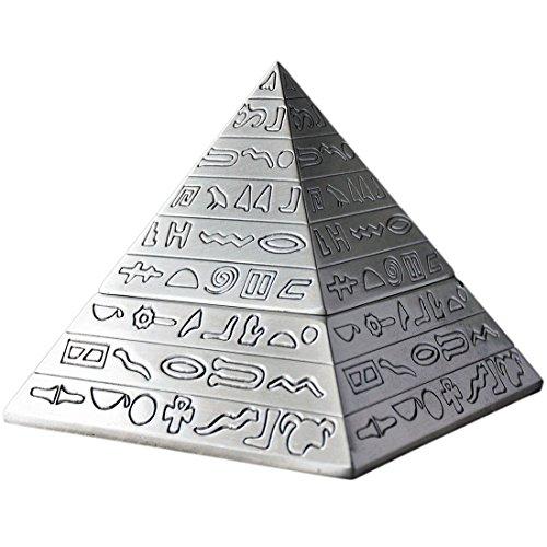 CHOUCHOU Posacenere per Sigari Decorazione di Modo Bronze Classica Piramide egizia Epoca in Metallo scolpito con Coperchio posacenere Regalo Decorazione della casa, Colore: Silver (Color : Silver)