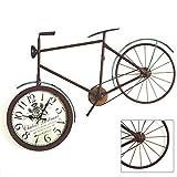 Vintage Fahrrad Wanduhr, Schmiedeeisen Dekoration Kunst Stummuhr, geeignet für Wohnzimmer, Bar, Studie (89 × 53 cm)