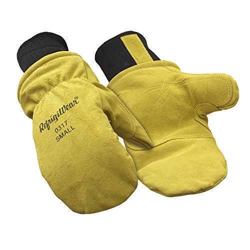 RefrigiWear Fleece Lined Fiberfill Insulated Cowhide Leather Mitten Gloves (Gold, X-Large)