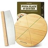 Plato para Pizza de Madera con Cortador de Pizza - Set de 2 Piezas - Cuchillo de Pizza de Acero Inoxidable con Hoja Afilada