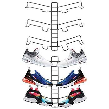 mDesign Modern Metal Shoe Organizer Display & Storage Shelf Rack - Adjustable Shelves Hang & Store Kicks Running Basketball Tennis Shoes - 3 Tier Each Wall Mount Unit Holds 6 Shoes 2 Pack Gray