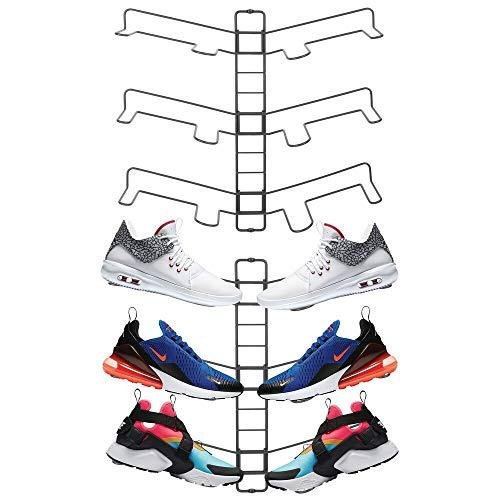 mDesign 2er-Set Schuhablage – verstellbares Wand Schuhregal für drei Paar Sneaker, Sportschuhe etc. – platzsparende Alternative zum Schuhschrank – grau