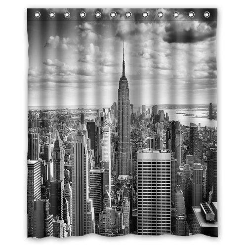 Nyc centrum nina zwart-wit foto Mode douchegordijn, doucheringen inbegrepen 100% waterdicht polyester stof 60