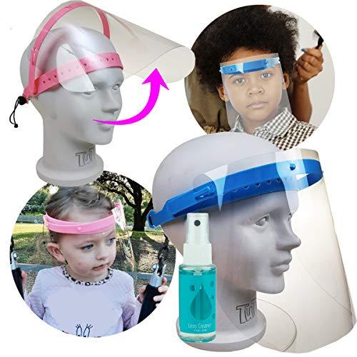 ProSPORT Pacote com 2 protetores faciais infantis azuis para escola, meninos e meninas, crianças, proteção transparente contra respingos, inclui 2 frascos de limpador de spray