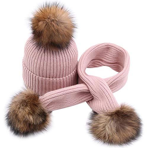 MAGIMODAC Conjunto de Bufanda Gorros Gorras Sombrero de Lana para niñas niños con pompón de Pelo (C-rosa, una talla)