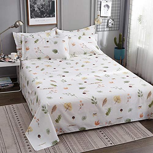 HJUYT 1 pc 100% Coton Drap de lit Taille Unique Enfants linge de lit pur Coton gris Coeur imprimé Double feuille supérieure étoiles ROI feuilles