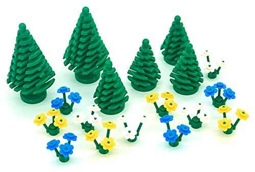 LEGO Garden Pack - Trees and Blue/White/Yellow Flowers