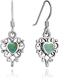 925 Sterling Silver Filigree Turquoise Gemstone Heart Shaped Dangle Hook Earrings