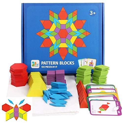 JCREN Wooden Pattern Blocks Montessori Toys Shape Puzzles Kindergarten Classic Educational Tangram Geometric Brain Teaser Toys Best STEM Gift for Kids Ages 4-8 with 24 Pcs Design Cards