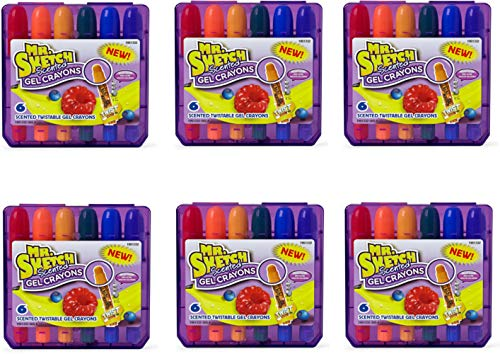 Mr. Sketch 1951332 Scented Twistable Gel Crayons, Assorted Colors, 6 Pack of 6 Crayons, 36 Crayons Total