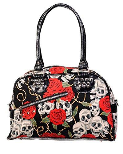 Gothic Skulls And Roses Top Handle Handbag