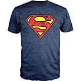 DC Comics Superman Logo Navy Heather T-Shirt Officially Licensed (X-Large)