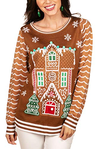 Tipsy Elves Gingerbread House Ugly Christmas Sweater for Womens Funny Classic Holiday Cookie Treat with Attached Pom Poms Size XX-Large