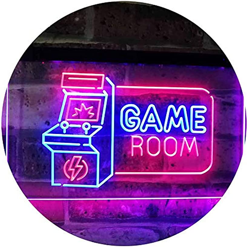 Game Room Arcade TV Man Cave Bar Club Dual Color LED Neon Sign Blue & Red 12