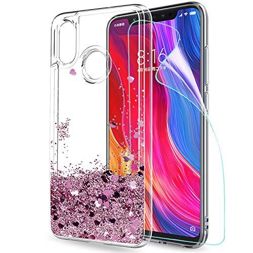 Custodia Xiaomi Mi 8 Cover con Pellicola Proteggi Schermo, Brillantini Trasparente Case, LeYi il Originale Glitter Morbido Silicone TPU Bumper...