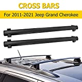 AUXMART Roof Rack Cross Bars Fit for 2011-2021 Jeep Grand Cherokee WK2 (Chrome Side Rails Needed) , Black Rooftop Luggage Rack Replacement,Aluminum Cargo Carrier Bars with Anti-Theft Locks