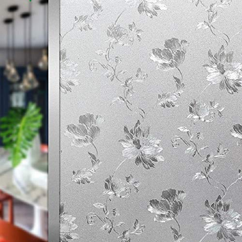 LMKJ Static Preservation Window Film Peony Pattern Decorative Glass Sticker, Opaque Privacy Decoration Bathroom Home Glass Film A15 40x100cm