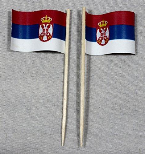 Buddel-Bini Party-Picker Flagge Serbien Papierfähnchen in Spitzenqualität 50 Stück Beutel