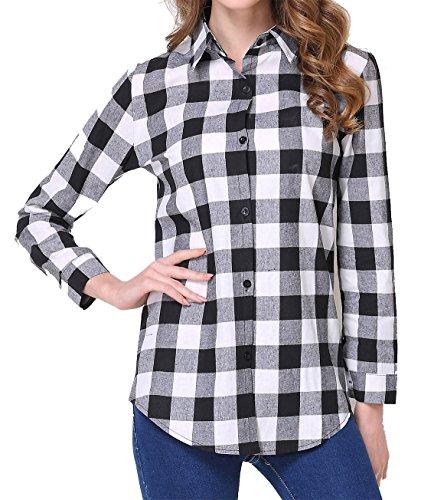 KorMei - Camicia - Vestito Modellante - A Quadri - Maniche Lunghe - Donna White&Black Large