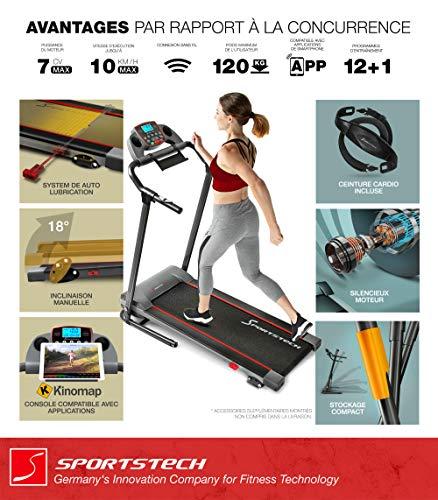 Sportstech Tapis de Course F10 modèle 2020 -Marque de qualité Allemande + Video Events & Multiplayer APP - Nouvelle Console - | 1HP à 10 km/h | Home Trainer avec 13 programmes, Inclinaison + Pliable
