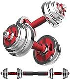 LAMTON 15 kg de Peso Ajustable con Mancuernas Mano con Barra de Acero Puro Ajustable Peso Barra Home Fitness Equipment Set + Biela y Caja de Almacenamiento con Mancuernas
