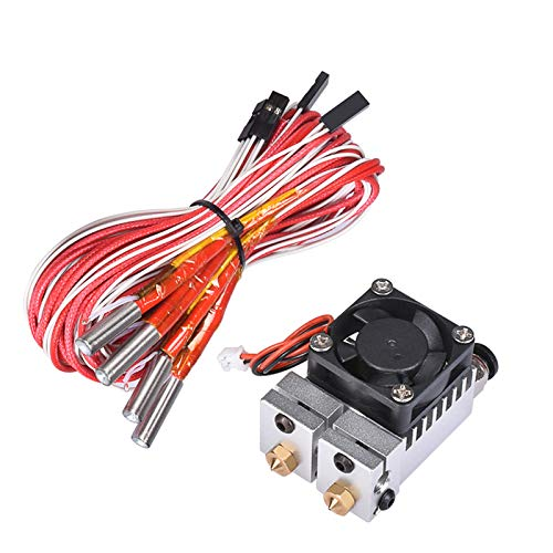 BZ 3D 2 in 2 Out Extruder 24V 40W Dual Color All Metal for 3D Chimera Hotend Kit Multi-Extrusion V6 Dual Extruder 0.4mm/1.75mm 3D Printer Part (Silver)