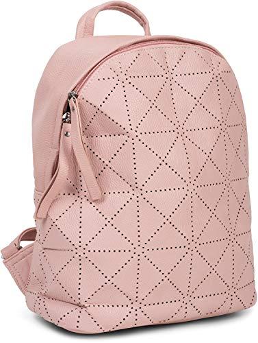 styleBREAKER Damen Rucksack Handtasche mit geometrischen Cutouts, Reißverschluss, Tasche 02012293, Farbe:Rose