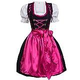 Mufimex Dirndl Set 3 TLG. Trachtenkleid schwarz mit Stickerei Haken Pink 42