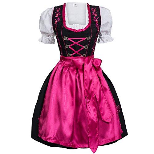 Mufimex Damen Dirndl Kleid Dirndlkleid Trachtenkleid Midi Schwarz Pink Hakenverschluß 36