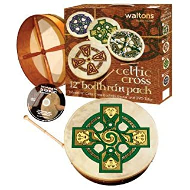Waltons Bodhrán 12  (Gallen Cross) - Handcrafted Irish Instrument - Crisp & Musical Tone - Hardwood Beater Included w/Purchase